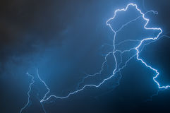 Lightning. Caught during night storm royalty free stock images