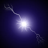 Lightning from the center bifurcated Stock Images