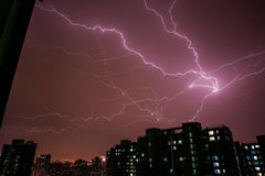 Lightning, china Beijing;Night;Architecture;City;Thunder Royalty Free Stock Photos