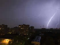 Lightning in City. Lightning in Moscow-City royalty free stock photo