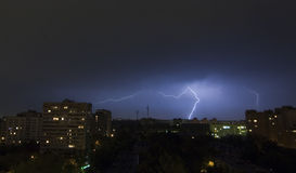 Lightning in City. Lightning in Moscow-City royalty free stock photography