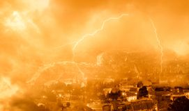 Lightning on the city Royalty Free Stock Image