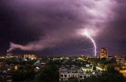 Lightning in the city Stock Photography