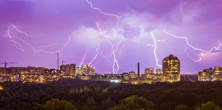 Lightning in the city Royalty Free Stock Images
