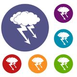 Lightning cloud icons set. In flat circle red, blue and green color for web Stock Images