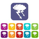 Lightning cloud icons set flat. Lightning cloud icons set vector illustration in flat style In colors red, blue, green and other Royalty Free Stock Images