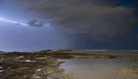 Lightning and clouds on sescape stock photos