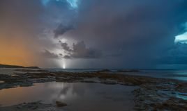 Lightning and clouds on sescape stock images