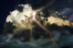 Lightning on clouds sky. Royalty Free Stock Photos