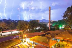 Lightning compilation with mosque in foreground. In Penang stock photography
