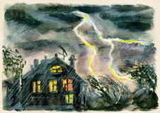 Lightning in the country. Thunderbolt in countryside illustration Royalty Free Stock Photo