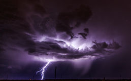 Lightning on a country road Royalty Free Stock Photography