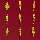 Lightning 3d icons set. Golden yellow bolts with shadow. metallic 3d Stock Photos