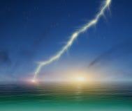 Lightning on a dark blue sky background Stock Photo