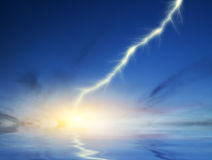 Lightning on a dark blue sky background Royalty Free Stock Images