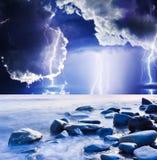Lightning. Dark ominous clouds. Summer storm beginning with lightning Stock Images