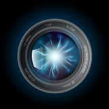 Lightning discharges inside the camera lens Stock Images
