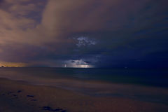 Lightning in the Distance. Lightning from storm. Madeira Beach Florida royalty free stock image