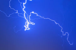 Lightning electricity sky night thunderstorm weather storm.  Stock Images