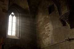 Lightning that enters through the window of the monastery of Val. Lbona de les Monges, Lleida province royalty free stock photos