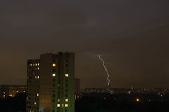 Lightning in the evening sky Stock Photo