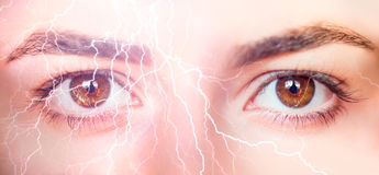Lightning eyes Stock Images