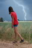 Lightning in a field Royalty Free Stock Photography