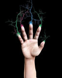 Lightning Fingers. Conceptual image of a hand that is shooting out bolts of lightning Stock Photography
