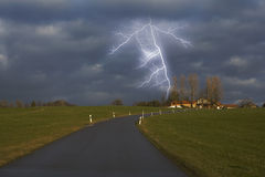 Lightning flash. Bad weather, storm and lightning Stock Photo
