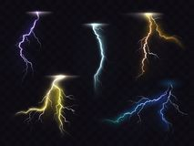 Lightning flash glowing light effects vector set Royalty Free Stock Photo