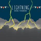 Lightning flash illuminating the clouds on a dark night. Vector Illustration of thunderbolt and lightning Stock Image