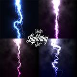 Lightning flash light thunder spark on black background with clouds set.Vector spark lightning or electricity blast. Storm or thunderbolt in sky.Natural stock illustration