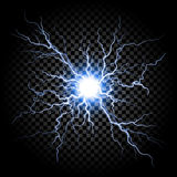 Lightning flash light thunder on transparent background. Lightning flash light thunder spark on trasparent background. Vector ball lightning or electricity blast vector illustration