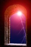 Lightning flash stone window Royalty Free Stock Photo