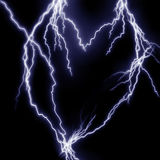 Lightning flashes. In the shape of a heart Royalty Free Stock Images
