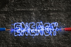 Lightning generated energy. In blue Stock Images