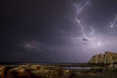 Lightning hand. Summer thunderstorm on the Adriatic sea (Southern Italy - Apulia Royalty Free Stock Image