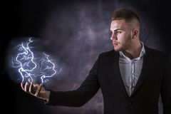 Lightning in Hand Royalty Free Stock Photography