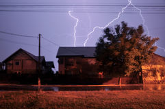 Lightning. High lightning nature storm thunders at twilight stock photo