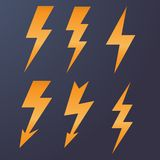 Lightning icon flat design long shadows vector illustration Royalty Free Stock Images
