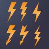 Lightning icon flat design long shadows vector illustration Royalty Free Stock Images