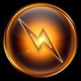 Lightning icon golden. Royalty Free Stock Photos