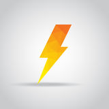 Lightning icon in polygonal on a gray background Royalty Free Stock Image