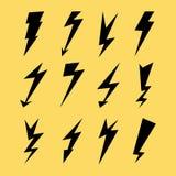 Lightning Icon Set. Electricity Thunder, Danger Symbol. Lightning Strike. Flash Black Icons Isolated On Yellow. Storm Lightning Si. Lightning Signs Vector Set Royalty Free Stock Photos
