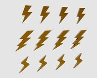 Lightning icon set Stock Photography