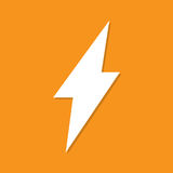 Lightning icon with shadow in a flat design on an orange background Royalty Free Stock Photo