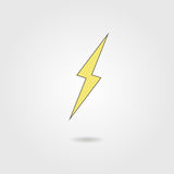 Lightning icon with shadow Royalty Free Stock Photography