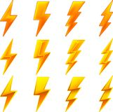 Lightning icons. Vector illustration of twelve lightning icons stock illustration