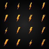 Lightning icons gold vector set Stock Images