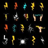 Lightning Icons Set Royalty Free Stock Photos